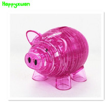 Happyxuan DIY 3D Jigsaw Crystal Puzzle Piggy Bank  Plastic Educational Toys For Children