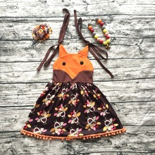 2017 girls summer dress kids party dress children fox turkey dress boutique brown thanksgiving dress with neaklace and bows