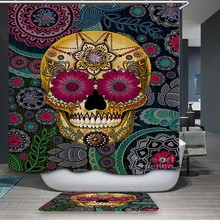 Smiry Halloween Hot sale Funny Shower Curtain Polyester Waterproof Candy Skull Head Flower Home textile Fabric Bathroom Curtain(China)