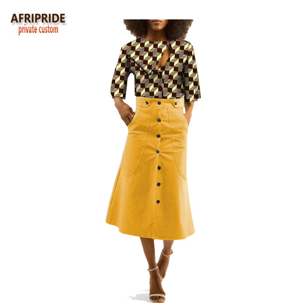 2018 african clothes skirt top set for women AFRIPRIDE three quarter sleeve o-neck top+mid-calf length trumpet skirt A1826003