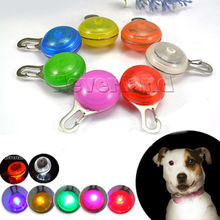 Bright Dog Pet LED Night Safety Flash Light for Collar, Push Button Switch