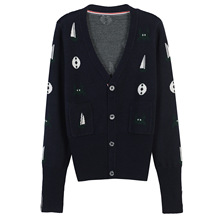 new slim long sleeved knit cardigan deep V collar button pattern crab boat(China)