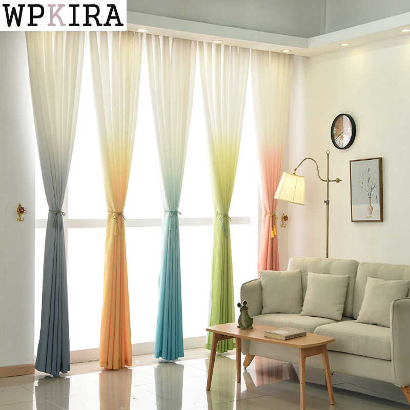 Modern Semi-Shade Thicker Terri Gradient Curtain Fabics Decorative Panel Curtain For Living Room Custom For Kitchen 185&30