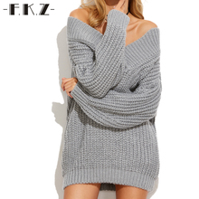FKZ Autumn Sweaters Women Loose Long Sleeve Sexy Sweater Solid Knitted Pullovers Deep V-Neck Sweaters Jumpers SKTSW7030#(China)