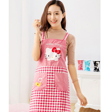 1X Cute Kawaii Hello Kitty Cotton Waterproof Apron Kitchen Accessories House Cleaning House Keeping Anti Dust