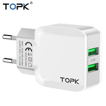 TOPK 5V 2.4A Smart Travel Dual USB Charger Adapter Wall Portable EU Plug Mobile Phone Charger for iPhone Samsung Xiaomi Tablet(China)