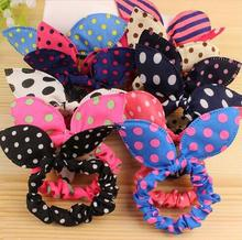 2017 Happy 10 Pcs/lot Cute Bunny Girls Flower Headbands Rabbit Ears Fabric Polka Dot Headwear Elastic Hair Band Hair Ropes