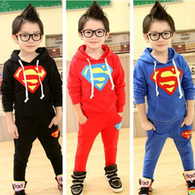 New 2017 Children's clothing set for spring/Autumn 100% terry cotton baby boy superman suit sets sweatshirts/outerwear+trousers(China)