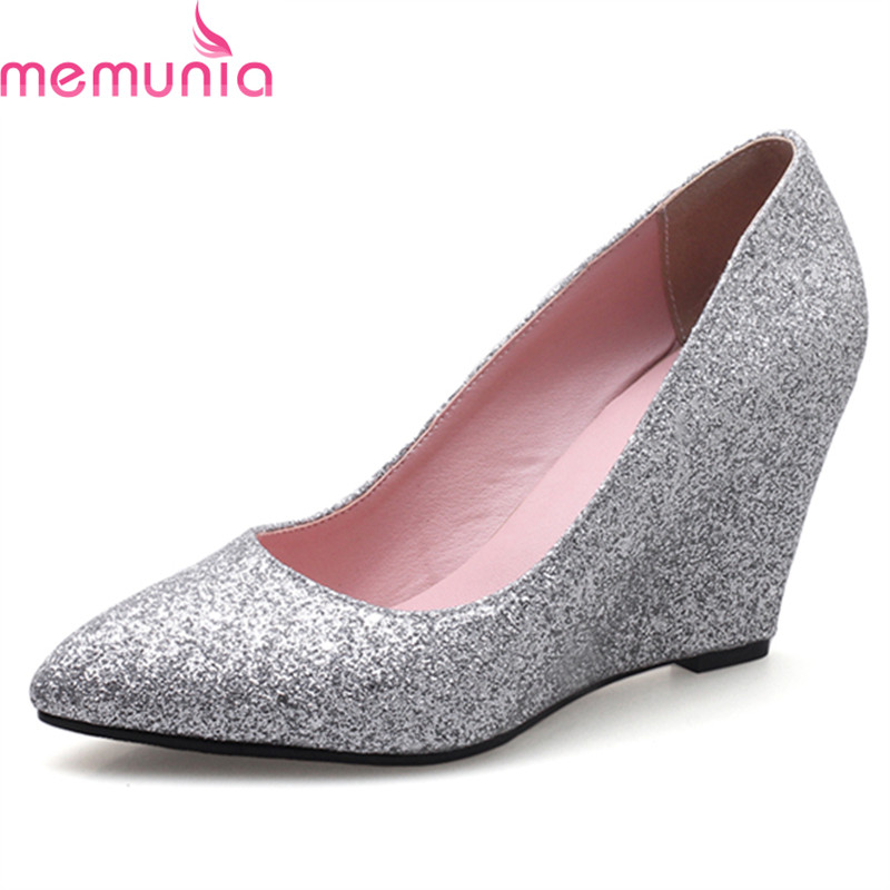 MEMUNIA large size 2018 hot sale wedges shoes fashion pointed toe high quality single shoes spring autumn women pumps<br>