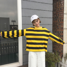 spring autumn black yellow honey bee striped t shirt womens tops flare sleeve tees shirt femme chemisier camiseta feminna camisa