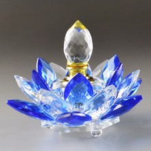 Blue K9 Crystal Perfume Bottle Glass Lotus Flower Crafts Refillable Liquid Bottle For Car Decoration Home Decor Birthday Gifts