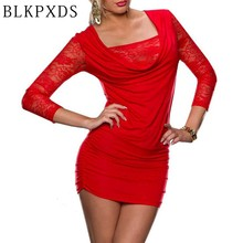 New Red Black Fashion Long sleeve Lace Sexy Mini Dress Clubwear clothing Women Casual Dresses Club wear 20 6922(China)