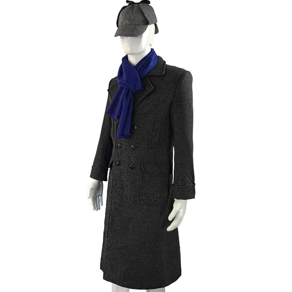 Cosplay Sherlock Holmes Cape Coat Costume Wool Long Jacket Outfit With Scarf New4