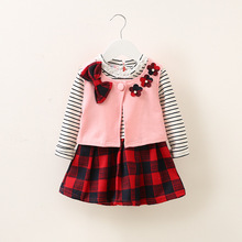 Baby girls dress smock+striped plaid dresses 2pcs princess dress for girls cute bow bead dresses for girls long sleev 0-3 years