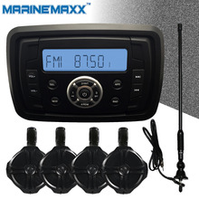 IP66 Waterproof Marine Bluetooth Audio Stereo MP3 Player Sound System + 2 Pairs 6.5inch Tower Wakeboard Speakers + 1Pcs Antenna
