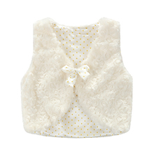 Infant Toddler Kids Children White Furry Waistcoat Baby Girls Princess Bowknot Polka Dot Vest Top Children Clothes 1-6Y