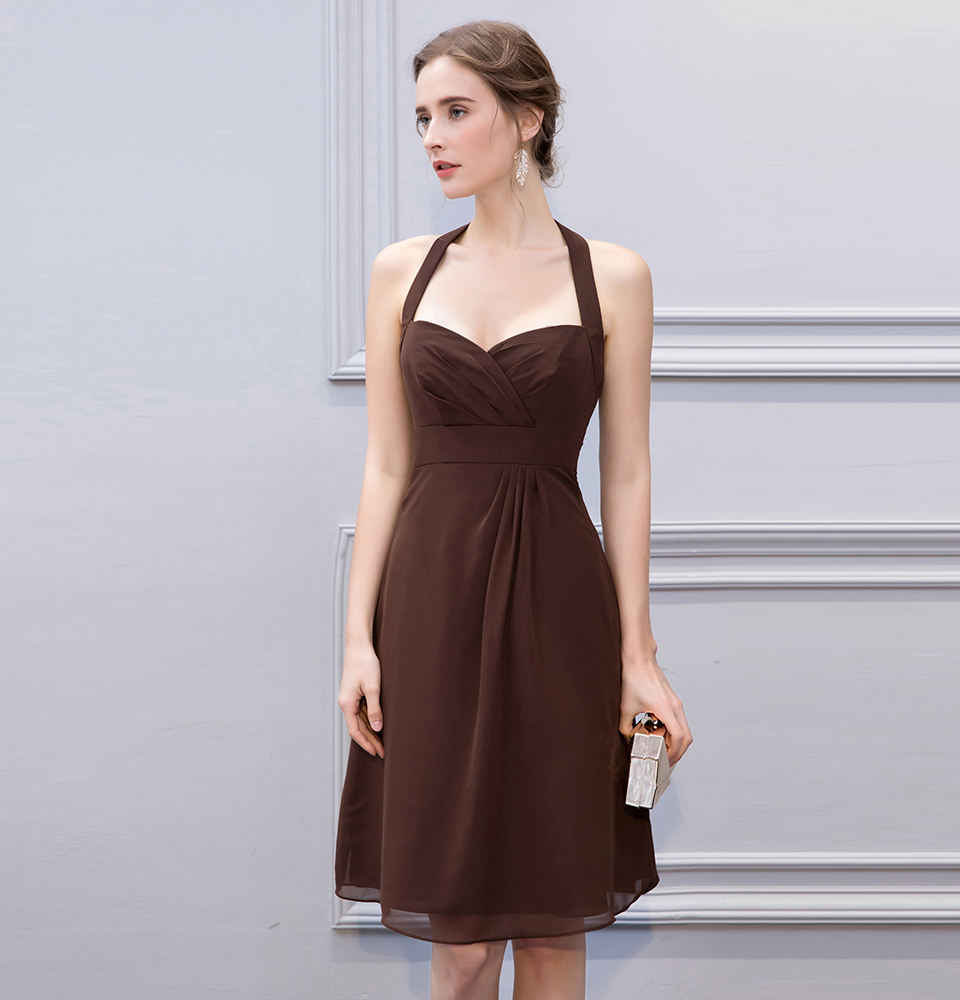 BeryLove Simple Brown Knee Length Short Bridesmaid Dresses Halter Backless Bridesmaid Gowns Chiffon Plus Wedding Party Dresses 6