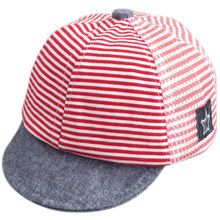 Fashion Spring Summer Baby Peaked Cap Cotton Gauze Horizontal Stripe Sunscreen Casual Visors Hat For 3-6 Month Child Infant H9(China)