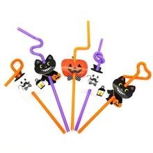 5pcs Disposable Halloween Fun Straws DIY Paper Card Straw Children Cute Wacky Straw Toys Household items Drinkware A35