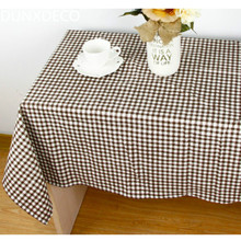 DUNXDECO Warm Home Little Check Linen Cotton Check Store Table Cloth Party Print Fabric Kitchen Table Placemat Home Decoration