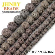 JHNBY Gray Lava beads Natural Stone Volcanic rock Top quality Round Loose beads ball 4/6/8/10/12MM Jewelry bracelet making DIY