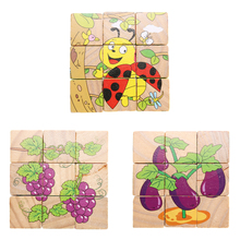 3D Wooden Jigsaw Puzzle Kids Children Six Sides Animals/Insects/Vegetables Puzzle Toys Cartoon Developmental Tangram Toy Gifts