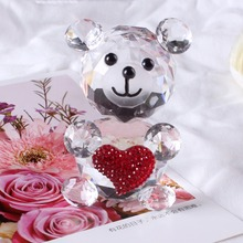 Quartz Crystal Glass Animal Decorative Teddy Bear Figurine Paperweights feng shui Crystals Crafts Figurines Home Weding Gifts