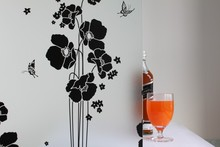 45x300cm Classic Design black butterfly flower Privacy Frosted Decorative Glass Window Vinyl Static Cling Film(China)