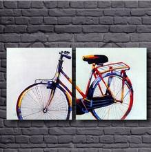 2 Panel Canvas Art 100% Hand Printed Color Bicycle Oil Paintings Art Work for Bed Room Handmade Canvas Pictures for Home Decor