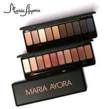 MARIA 10 colors Matte Eyeshadow Naked Palette Beauty Colors Pigment Nudes Matte Eye Shadow with Brush(China)