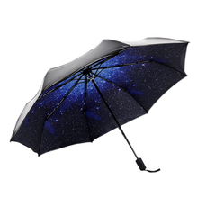Three Folding Anti-UV Protection Umbrella Starry Sky Pattern Parasol Pockets Umbrellas - Black + Blue