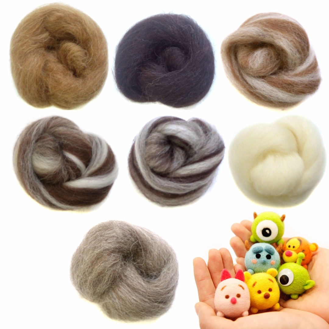 7pcs 35g Needle Felting Wool Fiber Roving Natural Collection For DIY Animal Doll Sewing Projects Felting Wool Crafts