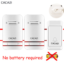 CACAZI No Need Battery Wireless DoorBell Waterproof EU US plug SMART Door Bell Remote AC 110V-220V buzzer 1 Button 2 Receiver
