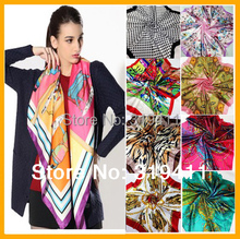 spring 2017 hot sale satin square brand silk scarf,90*90cm, beautiful color floral women scarf  21-40 SC0271
