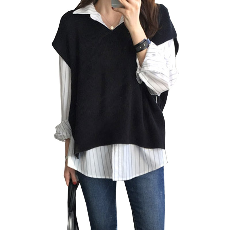 Women's Cashmere Sweater Vest Tank Knit Pullover Sleeveless Fashion Loose Black Sweater Vest High Quality Waistcoat Gilet Femme