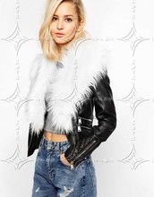 Large Size Women Zipper Motorcycle Leather Jacket Leather Grass Faux Fur Collar Stitching Leather