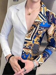 Gold Shirt Club Slim-Fit Long-Sleeve Print Party Patchwork Casual Black Autumn Baroque Men