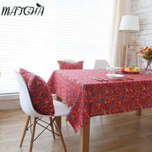 Simanfei Hot 2017 New Bohemia Chinese Style Red Wedding Joyous Coffee Table Tablecloth Linen and Cotton Dust-proof Tables Cloth