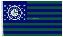 Seattle Mariners Baseball US stars and Stripes Banner New Team Logo 3'x5' Ft Polyester Grommets Indoor-Outdoor flags