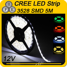 5M led strip SMD3528 Waterproof IP65 White Green Red Yellow  LED Flex Strip (12 volt led strip lights )free shipping