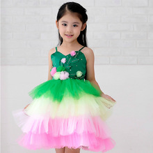 Fashion childrens christmas clothes pretty green halter layers cup cake party dress for girls(China)
