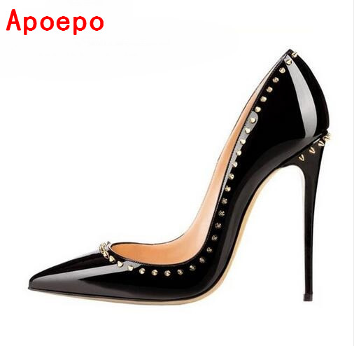 Patent Leather Studded Heels 12cm Fashion Ladies Pumps Sexy Pointed toe Rivets Spiked High Heeled Shoes Black Womens Pumps<br>