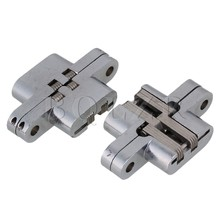 BQLZR 2pcs Silver Stainless Steel Invisible Hidden Concealed Cross Cabinet Hinge #4