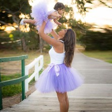 Urban Fairy Tale Mother And Daughter Tulle Skirts Puffy Ball Gown Lavender Custom Made Family Clothing Mommy & Baby Skirts