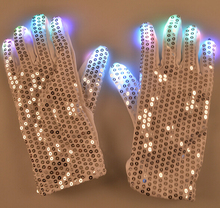 200PCS LED Gloves Rave Light Flashing Finger Lighting Glow Mittens Magic Black Glove Party Pub Birthday Halloween Party Holiday
