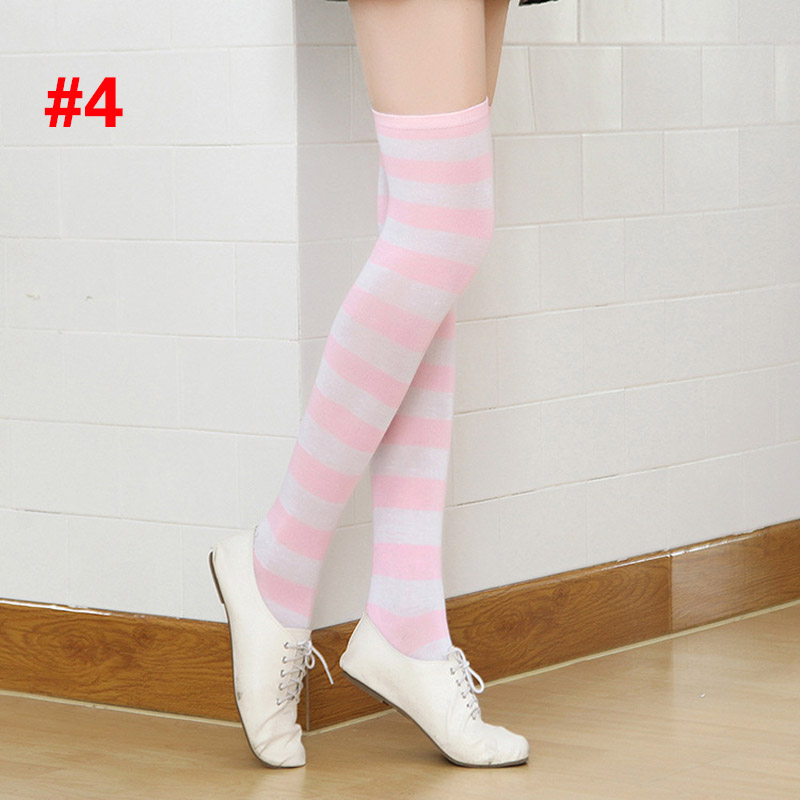 Polyester Fashion Stripe Beauty Tights, Stockings, Multicolor Knee-high Women Sweet Cute Girls Stockings 11