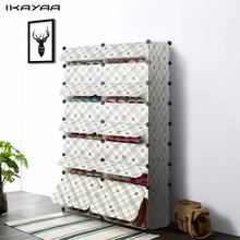 iKayaa 32 Pairs DIY Cube Plastic Shoes Rack 16 Grids Shoes Storage Cabinet Organizer Bookcase Toy Cloth Closet with Door