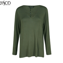 MCO Autumn Sexy Lace Up Plunge Neck Plus Size Women Top Army Green Oversized Basic T-Shirt Ultimate Easy Simple Big Tee 6XL 7XL(China)
