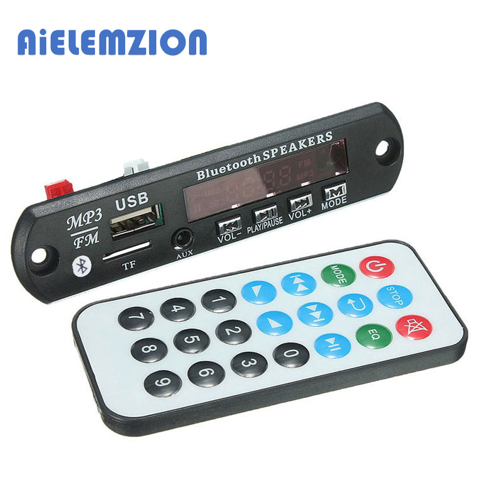 3pcs AiELEMZION 7-12V Car Bluetooth MP3 Decoder Board Decoding Player Module Support FM Radio USB/TF LCD Screen Remote Control(China (Mainland))