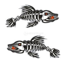 2Pcs Skeleton Fish Bones Kayak Decals Canoe Fishing Boat Motorcycle Car Bumper Wall Window Laptop Cool Funny Stickers Graphics